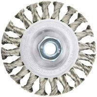 """LESSMANN 471211 - 4"""" x .020"""" 7/8"""" w/ Bushings Knot Wire Wheel Brush (steel)"""